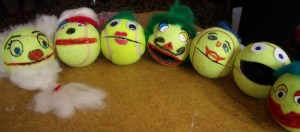 A crowd of ball puppets