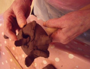 Making clay heads